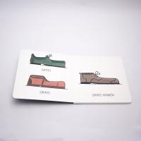 """Vista superior del libro """"Zapato"""". [Descripción de imagen] Páginas interiores. A la izquierda, dos zapatos de diferente color, diseño y el texto: """"Zapato"""". A la derecha, un tercer zapato diferente y el texto: """"Zapato marrón""""."""