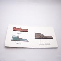 """Vista superior del libro """"Zapato"""". [Descripción de imagen] A la izquierda, dos zapatos en diferente color, diseño y el texto: """"Zapato"""". A la derecha, un tercer zapato diferente y el texto: """"Zapato marrón""""."""