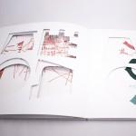 """Detalle del libro """"Hasta el infinito"""". [Descripción de imagen] En páginas interiores, recortes con diferentes formas geométricas que dejan entrever los trazos y formas de las páginas anterior y posterior."""
