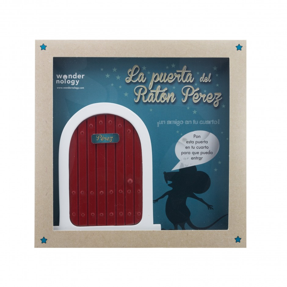 """Vista superior del libro """"La Puerta y el Ratón Pérez"""". [Descripción de imagen] En portada, la ilustración de un ratón frente a una puerta, con el siguiente texto en diálogo: """"Pon esta puerta en tu cuarto para que pueda entrar""""."""