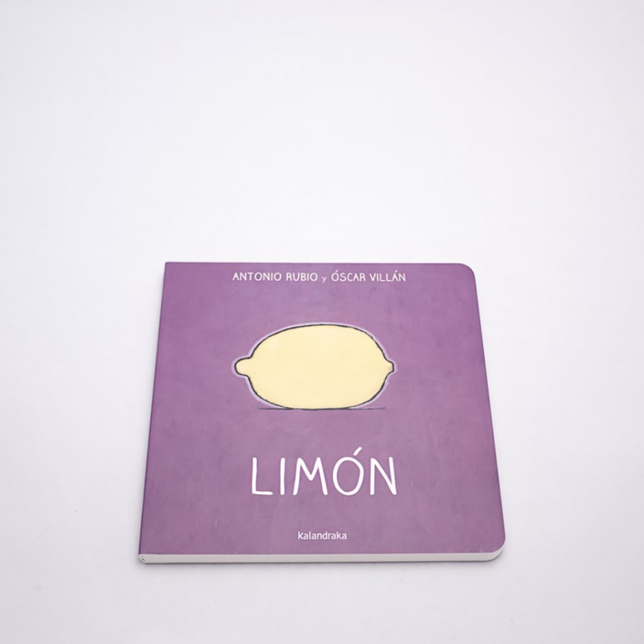 """Vista superior del libro """"Limón"""". En portada, la ilustración de un limón."""