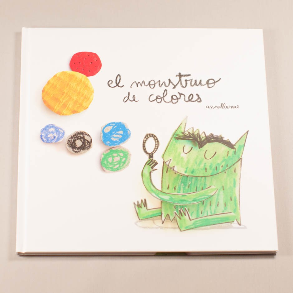 """Libro """"El monstruo de colores"""". En portada, un monstruo soplando burbujas de diferente tamaño y color."""
