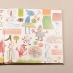 """Detalle del libro """"Garbancito"""". [Descripción de imagen] Páginas internas. A la derecha, una multitud de diferentes figuras, flores, casas y animales ocupando toda la hoja."""