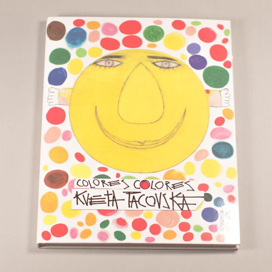 """Libro """"Colores, Colores"""". En portada, un sol sonriente rodeado de círculos de diferentes colores y tamaños."""