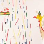 """Detalle del libro """"Colores, Colores"""". En él, dos figuras, una frente a otra, bajo trazos de colores que emulan la lluvia."""