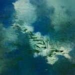 Oleo sobre lienzo. Obra de Hugo Fontanela en la que el autor recrea en abstracto un mar agitado.